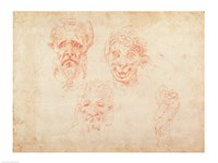 W.33 Sketches of satyrs' faces Fine Art Print