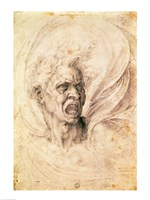 Study of a man shouting by Michelangelo Buonarroti - various sizes, FulcrumGallery.com brand