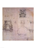 Inv. 1859 6-25-545. R. (W. 25) Designs for tombs by Michelangelo Buonarroti - various sizes - $16.49