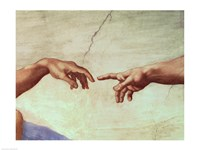 Hands of God and Adam, detail from The Creation of Adam, from the Sistine Ceiling, 1511 Framed Print