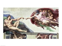Sistine Chapel Ceiling (1508-12): The Creation of Adam, 1511-12 Framed Print