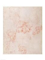 Studies of heads-12d, 1508 by Michelangelo Buonarroti, 1508 - various sizes