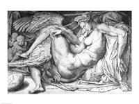 Leda, engraved by Jacobus Bos, Boss or Bossius Fine Art Print