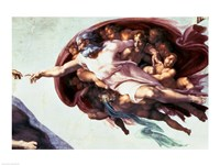 Sistine Chapel Ceiling: Creation of Adam, 1510 (detail) Fine Art Print