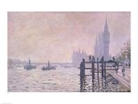 The Thames below Westminster, 1871 Framed Print