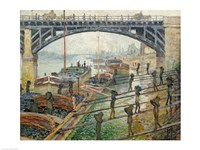 The Stream of Robec at Rouen, 1872 workers Fine Art Print