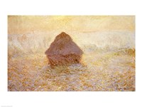 Haystacks, Sun in the Mist Fine Art Print
