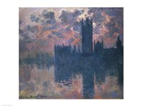 Houses of Parliament, Sunset, 1902 Framed Print