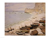 Boats on the Beach at Etretat, 1883 by Claude Monet, 1883 - various sizes