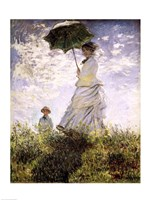 Woman with a Parasol - Madame Monet and Her Son Framed Print