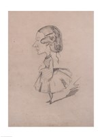Young girl in profile with a sharp nose Fine Art Print