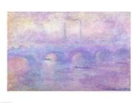 Waterloo Bridge in Fog, 1899-1901 Framed Print