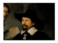 The Anatomy Lesson of Dr. Nicolaes Tulp, 1632 (man in hat detail) Fine Art Print
