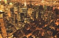 "New York - Manhattan at Night Golden - 36"" x 24"""