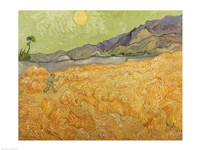 Wheatfield with Reaper, 1889 Fine Art Print