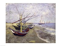 Fishing Boats on the Beach at Saintes-Maries-de-la-Mer Framed Print