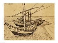 Fishing Boats on the Beach at Saintes-Maries-de-la-Mer, 1888 Fine Art Print