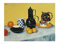 Still Life with Blue Enamel Coffeepot, Earthenware and Fruit Framed Print
