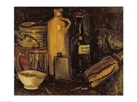 Still life with pots, bottles and flasks Fine Art Print