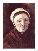 Head of an old woman in a Scheveninger Cap Fine Art Print