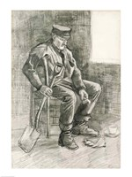Man with a Spade Resting, 1882 Fine Art Print
