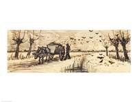Ox-Cart in the Snow Fine Art Print