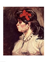 Portrait of a Woman with a Red Ribbon, 1885 Fine Art Print