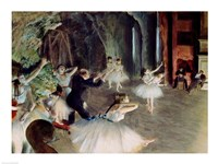 The Rehearsal of the Ballet on Stage Fine Art Print