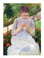 Young Woman Sewing in the garden Fine Art Print