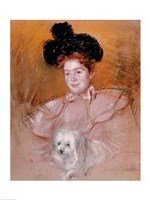 Woman holding a dog Fine Art Print