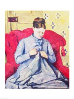 Madame Cezanne sewing by Paul Cezanne - various sizes