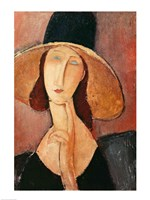 Portrait of Jeanne Hebuterne in a large hat, c.1918-19 Fine Art Print