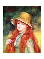 Young girl in a straw hat, 1884 Fine Art Print
