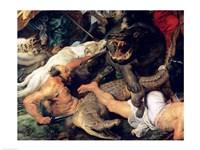 Hippopotamus and Crocodile Hunt - up close Fine Art Print