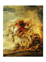 Bellerophon Riding Pegasus Fighting the Chimaera Fine Art Print