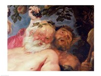 Drunken Silenus Supported by Satyrs Fine Art Print