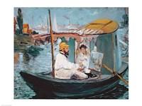 Monet in his Floating Studio, 1874 Fine Art Print