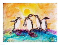 Penguins Under the Sun Framed Print