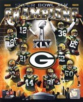 Green Bay Packers Super Bowl XLV Champions Composite (Vertical) Framed Print