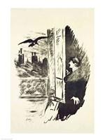 Illustration for 'The Raven', by Edgar Allen Poe, 1875 Fine Art Print