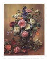 "Roses in a Blue Vase by Albert Williams - 13"" x 16"""