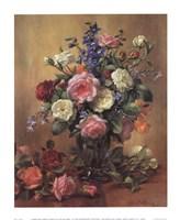 Roses in a Blue Vase Framed Print