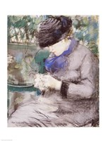 Girl Sitting in the Garden Knitting, 1879 Fine Art Print