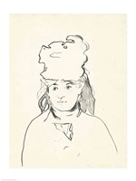 Berthe Morisot in silhouette by Edouard Manet - various sizes