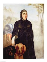 Woman With Dogs, 1858 Fine Art Print