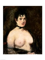 Brunette with bare breasts Fine Art Print