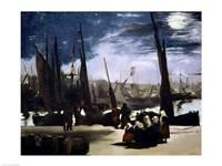Moonlight on Boulogne Harbour, 1868 Fine Art Print