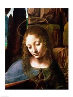 Detail of the Head of the Virgin, from The Virgin of the Rocks Fine Art Print