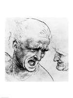Studies for the heads of two soldiers in 'The Battle of Anghiari Fine Art Print