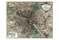 Plan de Paris - green Fine Art Print